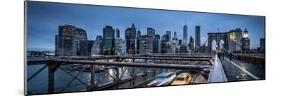Brooklyn Bridge, rainy evening, skyscrapers and skyline of Manhattan, New York, USA-Andrea Lang-Mounted Photographic Print