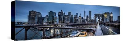 Brooklyn Bridge, rainy evening, skyscrapers and skyline of Manhattan, New York, USA-Andrea Lang-Stretched Canvas Print