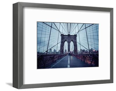 Brooklyn Bridge, rainy evening, skyscrapers and skyline of Manhattan, New York, USA-Andrea Lang-Framed Photographic Print