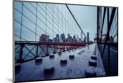 Brooklyn Bridge, rainy evening, skyscrapers and skyline of Manhattan, New York, USA-Andrea Lang-Mounted Photographic Print