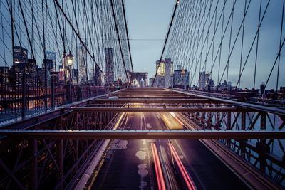 Traffic on Brooklyn Bridge, rainy evening, skyscrapers and skyline of Manhattan, New York, USA-Andrea Lang-Framed Photographic Print