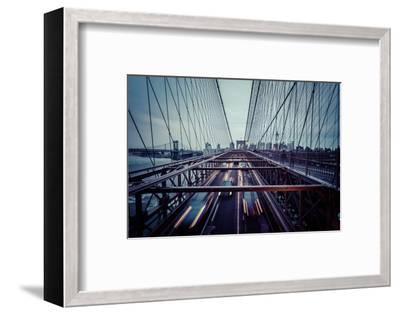 Traffic at Brooklyn Bridge, rainy evening, skyline of Manhattan, New York, USA-Andrea Lang-Framed Photographic Print