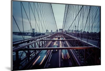 Traffic at Brooklyn Bridge, rainy evening, skyline of Manhattan, New York, USA-Andrea Lang-Mounted Photographic Print