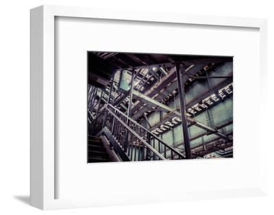 Subway station stair railing and steel construction with corrosion, Brooklyn, New York, USA-Andrea Lang-Framed Photographic Print