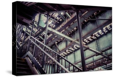 Subway station stair railing and steel construction with corrosion, Brooklyn, New York, USA-Andrea Lang-Stretched Canvas Print