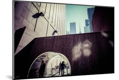 Sun reflection, water design tunnel, business district, Manhattan, New York, USA-Andrea Lang-Mounted Photographic Print