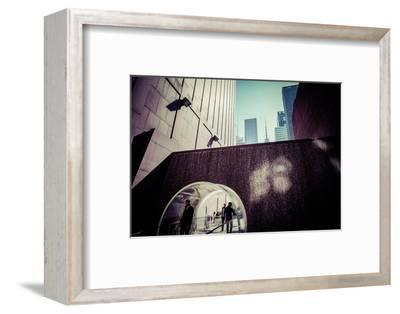 Sun reflection, water design tunnel, business district, Manhattan, New York, USA-Andrea Lang-Framed Photographic Print