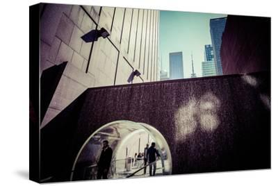 Sun reflection, water design tunnel, business district, Manhattan, New York, USA-Andrea Lang-Stretched Canvas Print