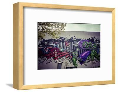 Avengers Super Heros Graffiti, Streetart, Wallpainting, Manhattan, New York, USA-Andrea Lang-Framed Photographic Print