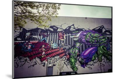 Avengers Super Heros Graffiti, Streetart, Wallpainting, Manhattan, New York, USA-Andrea Lang-Mounted Photographic Print