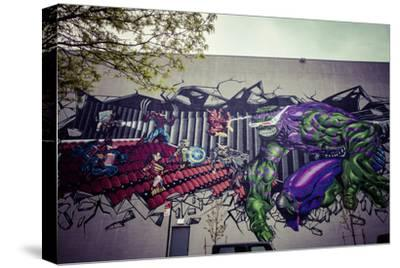 Avengers Super Heros Graffiti, Streetart, Wallpainting, Manhattan, New York, USA-Andrea Lang-Stretched Canvas Print