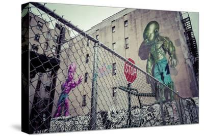 Backyard scene Graffiti of a pink and green superpower baby, Little Italy, Manhattan, New York, USA-Andrea Lang-Stretched Canvas Print