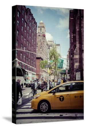 Streetview with traffic, pedestrians and cab, in Manhattan, New York, USA-Andrea Lang-Stretched Canvas Print