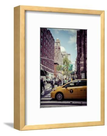 Streetview with traffic, pedestrians and cab, in Manhattan, New York, USA-Andrea Lang-Framed Photographic Print