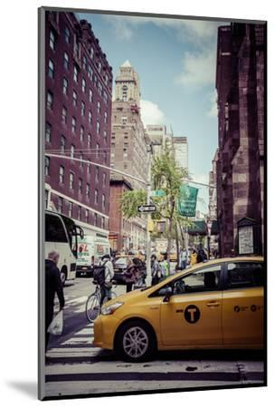 Streetview with traffic, pedestrians and cab, in Manhattan, New York, USA-Andrea Lang-Mounted Photographic Print