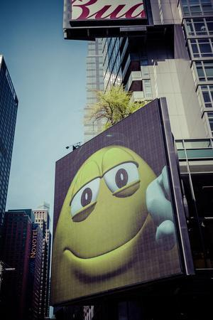Yellow M&M, Ad, Time Square, architecture, skyscrapers, Streetview, Manhattan, New York, USA-Andrea Lang-Framed Photographic Print