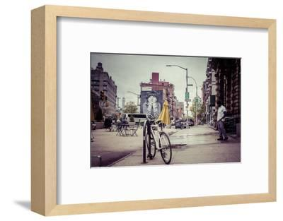 Wallpainting and Groundskeeping in neighbourhood of Williamsburg, Brooklyn, New York, USA-Andrea Lang-Framed Photographic Print