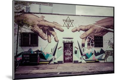 Graffiti of Michelangelo´s God and Adam´s hands in Williamsburg, Brooklyn, New York, USA-Andrea Lang-Mounted Photographic Print