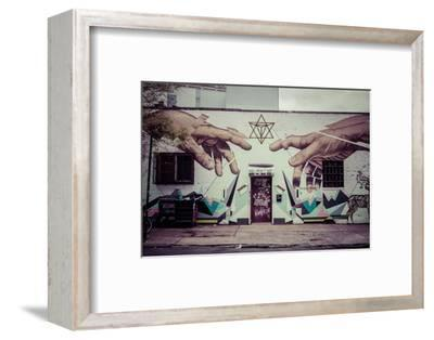 Graffiti of Michelangelo´s God and Adam´s hands in Williamsburg, Brooklyn, New York, USA-Andrea Lang-Framed Photographic Print