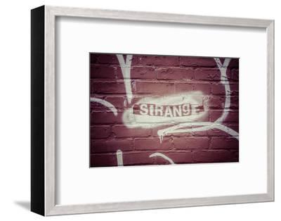 Strange Graffiti in Williamsburg neighbourhood, Brooklyn, New York, USA-Andrea Lang-Framed Photographic Print
