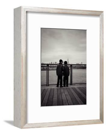 Young orthodox Jews, boys in front of New York Skyline, Williamsburg, Brooklyn, New York, USA-Andrea Lang-Framed Photographic Print