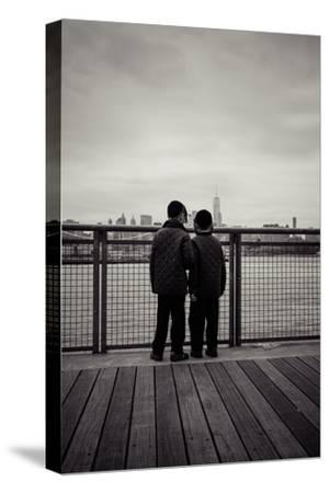 Young orthodox Jews, boys in front of New York Skyline, Williamsburg, Brooklyn, New York, USA-Andrea Lang-Stretched Canvas Print