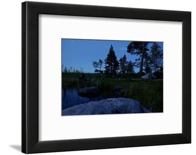 Wild camping site by night, Stora Le Lake, Dalsland, Götaland, Sweden-Andrea Lang-Framed Photographic Print