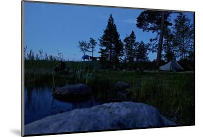 Wild camping site by night, Stora Le Lake, Dalsland, Götaland, Sweden-Andrea Lang-Mounted Photographic Print