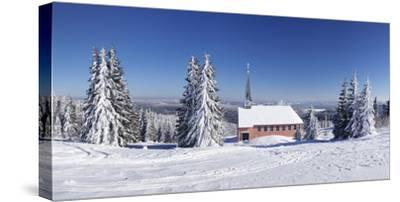 Winter scenery on Kandel close church, Black Forest, Baden-Wurttemberg, Germany-Markus Lange-Stretched Canvas Print