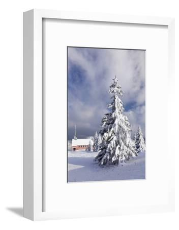 Winter scenery on the Kandel with church, Black Forest, Baden-Wurttemberg, Germany-Markus Lange-Framed Photographic Print
