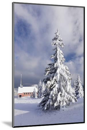 Winter scenery on the Kandel with church, Black Forest, Baden-Wurttemberg, Germany-Markus Lange-Mounted Photographic Print