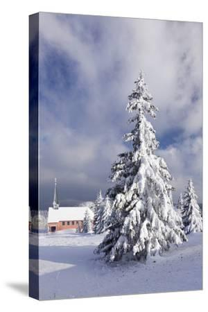 Winter scenery on the Kandel with church, Black Forest, Baden-Wurttemberg, Germany-Markus Lange-Stretched Canvas Print