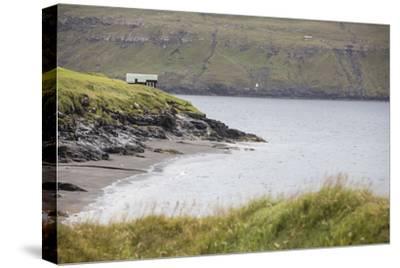Faroes, Vagar, Bour, house, coast-olbor-Stretched Canvas Print