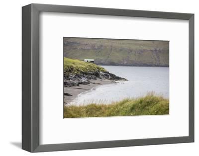 Faroes, Vagar, Bour, house, coast-olbor-Framed Photographic Print