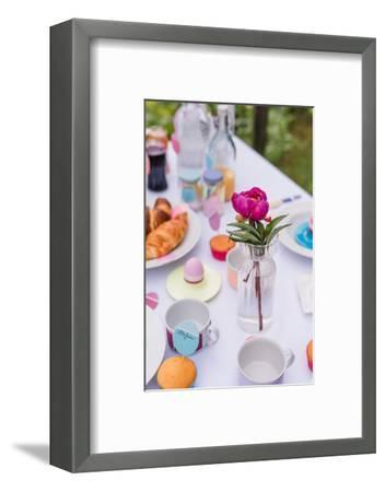 Garden table, covered, Easter breakfast, detail,-mauritius images-Framed Photographic Print