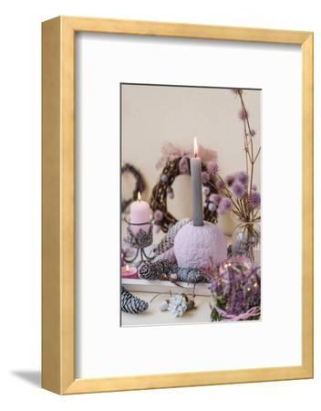 Sideboard, autumnal decoration, natural materials, pastel colours, detail,-mauritius images-Framed Photographic Print
