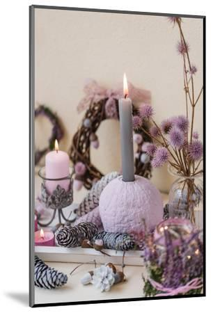 Sideboard, autumnal decoration, natural materials, pastel colours, detail,-mauritius images-Mounted Photographic Print