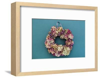 Still life, autumnal decoration, wreath with hydrangea blossoms-mauritius images-Framed Photographic Print