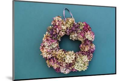 Still life, autumnal decoration, wreath with hydrangea blossoms-mauritius images-Mounted Photographic Print