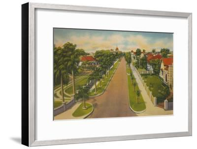'Colombia Avenue, Barranquilla', c1940s-Unknown-Framed Giclee Print
