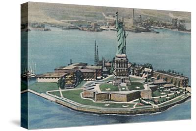 'Statue of Liberty on Bedloe's Island in New York Harbor. New York City', c1940s-Unknown-Stretched Canvas Print