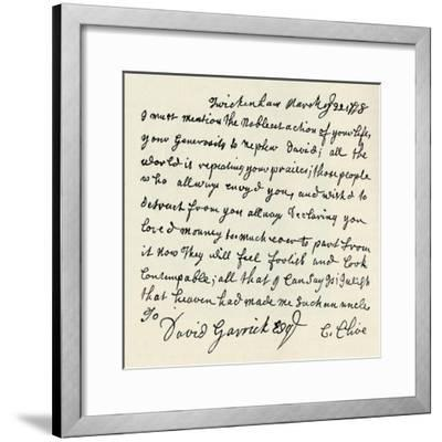 'Facsimile of autograph letter by Kitty Clive', 1907-Unknown-Framed Giclee Print