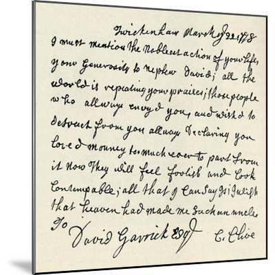 'Facsimile of autograph letter by Kitty Clive', 1907-Unknown-Mounted Giclee Print