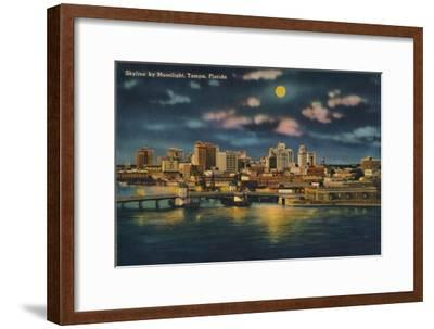 'Skyline by Moonlight, Tampa, Florida', c1940s-Unknown-Framed Giclee Print