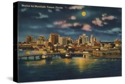 'Skyline by Moonlight, Tampa, Florida', c1940s-Unknown-Stretched Canvas Print