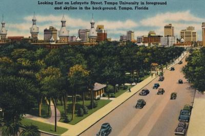 'Looking East on Lafayette Street, Tampa University and skyline, Tampa, Florida', c1940s-Unknown-Framed Giclee Print