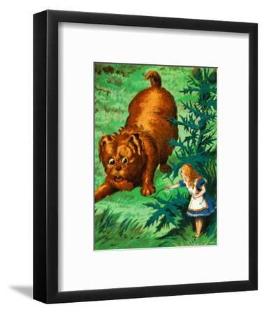 'Alice meets a very large puppy', c1900-Unknown-Framed Giclee Print