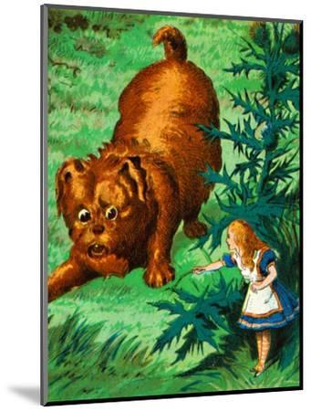 'Alice meets a very large puppy', c1900-Unknown-Mounted Giclee Print