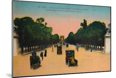 The Avenue des Champs-Elysées and the Marly Horses, Paris, c1920-Unknown-Mounted Giclee Print