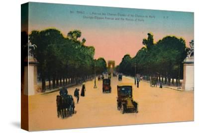 The Avenue des Champs-Elysées and the Marly Horses, Paris, c1920-Unknown-Stretched Canvas Print